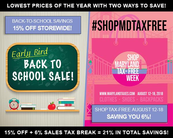 Aug  12-18: Storewide Sale + Tax Free Week = 21% Off